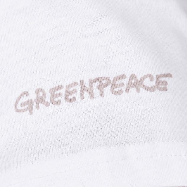Damen T-Shirt Kurzarm weiß mit Greenpeace Logo