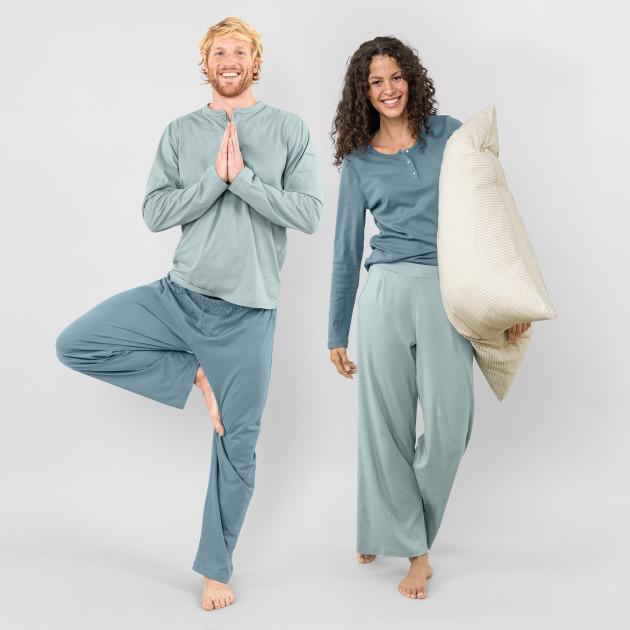 Herren Pyjama zweifarbig taubenblau