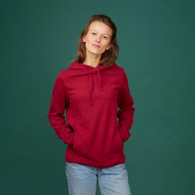 """Damen Kapuzen-Sweatshirt """"Save the Climate"""" biking red"""