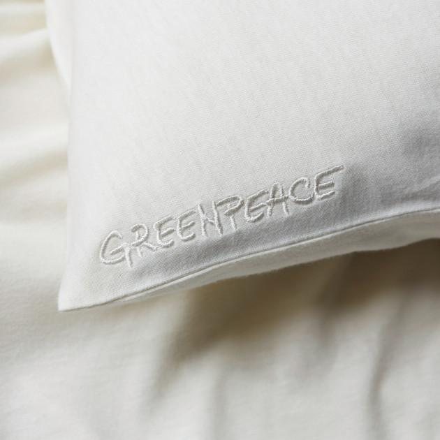 Bettwäsche-Set cremeweiss mit Greenpeace Logostick