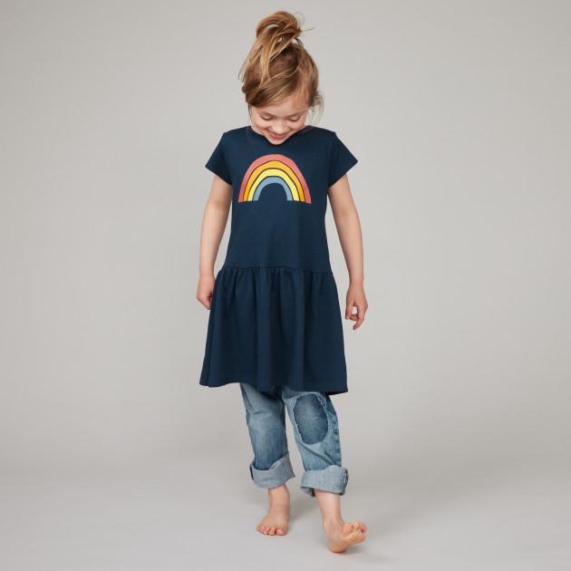 "Kids Jersey Kleid ""Regenbogen"" dunkelblau"