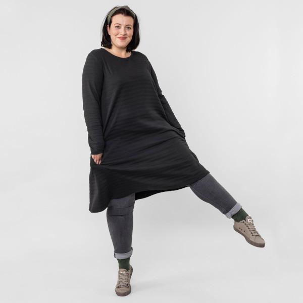 Damen A-Linien Kleid Rippenoptik schwarz