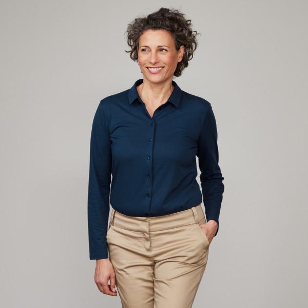 """Damen Jersey Bluse """"Peace"""" dunkelblau"""