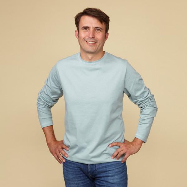 Herren Langarm Shirt mit Greenpeace Logostick salbei