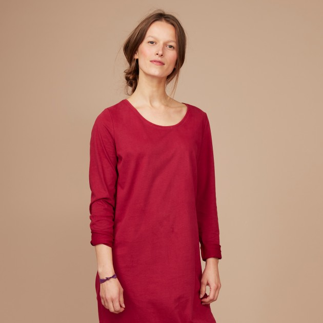 Damen Basic Shirtkleid biking red