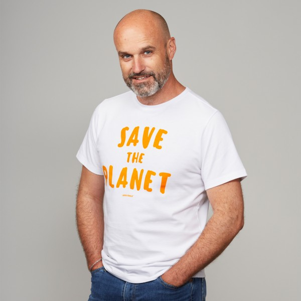 "Herren T-Shirt ""Save the Planet"" weiß"