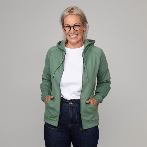 Damen Kapuzenjacke mit Greenpeace Logostick schilfgrün
