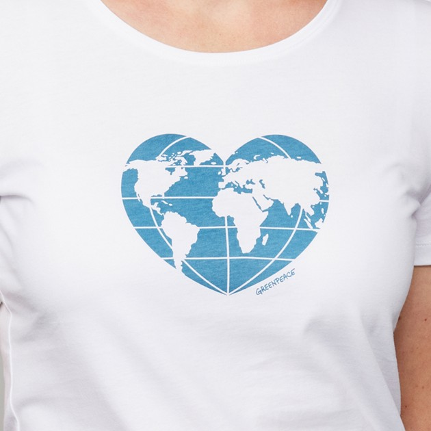 "Damen T-Shirt ""Planet Earth First"" weiß"