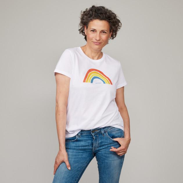 Damen Basic T-Shirt Regenbogen weiß