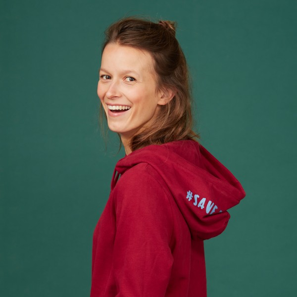 "Damen Kapuzen-Sweatshirt ""Save the Climate"" biking red"
