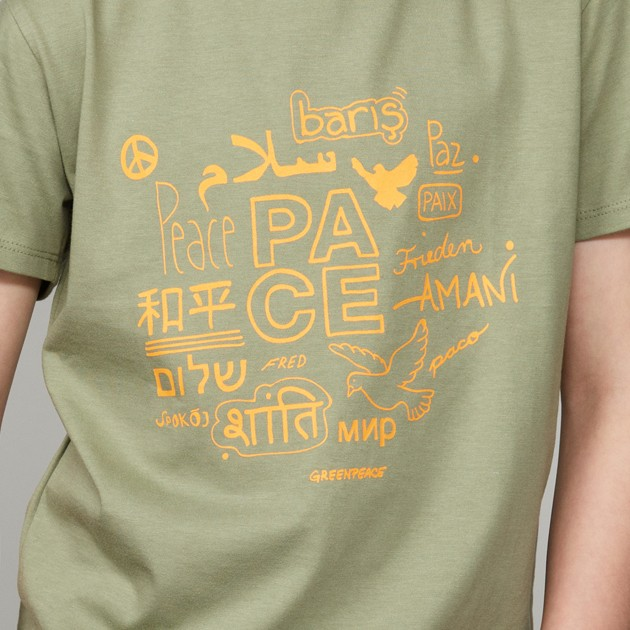 "T-Shirt ""Peace"" khakigrün"