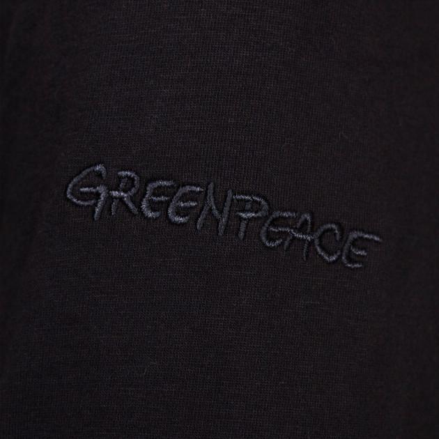 Damen Langarm Shirt mit Greenpeace Logostick schwarz