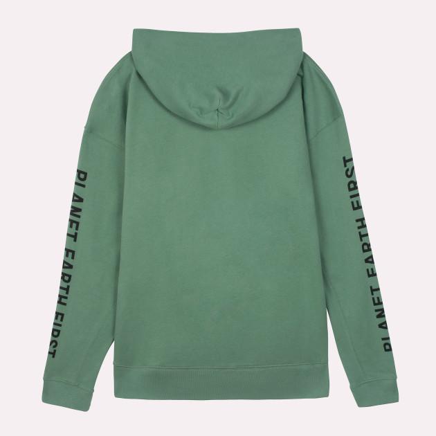"Kapuzensweatshirt ""Planet Earth First"" schilfgrün"