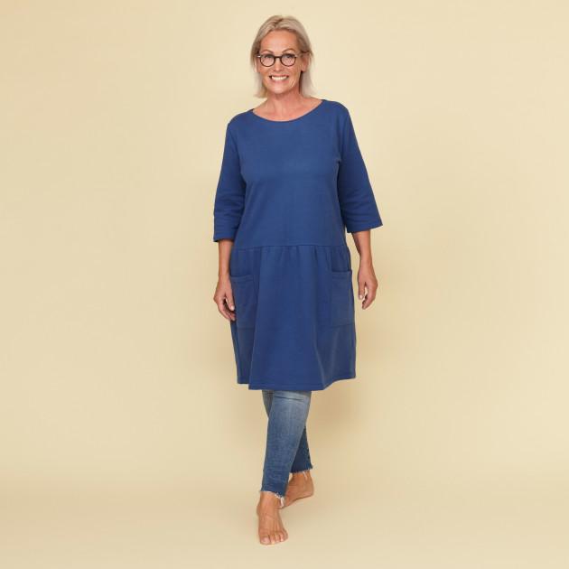 Damen Sweatkleid mit Greenpeace Logostick azurblau