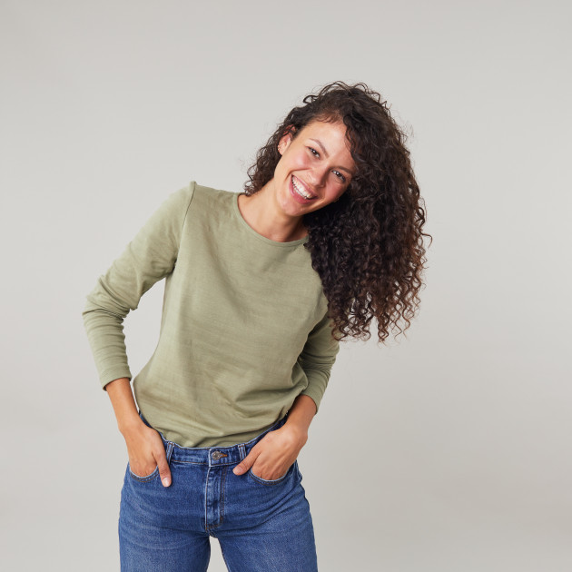 Damen Langarm Shirt Rippenoptik olive