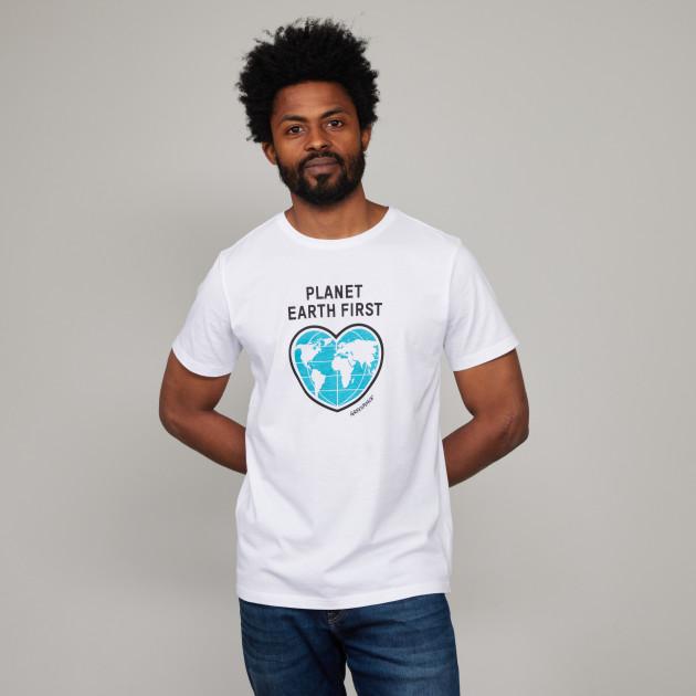 "T-Shirt ""Planet Earth First"" weiß"