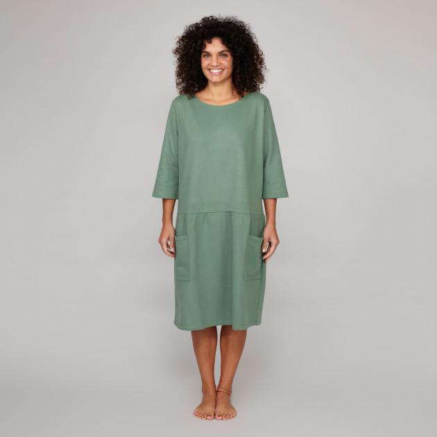Damen Sweatkleid mit Greenpeace Logostick schilfgrün