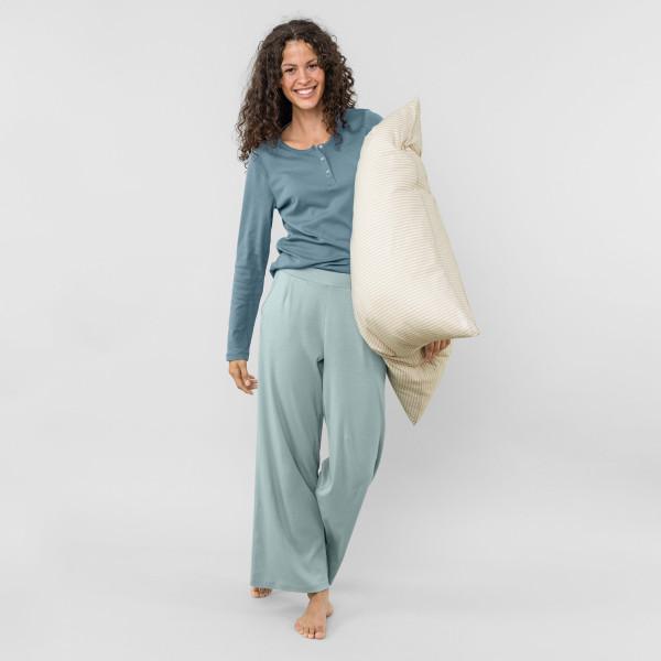 Damen Pyjama zweifarbig taubenblau
