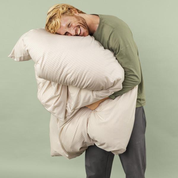 Bettdeckenbezug gestreift cremeweiß/silberbirke