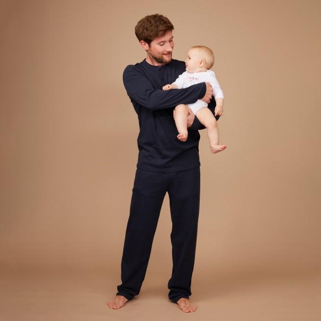 Herren Pyjama nachtblau