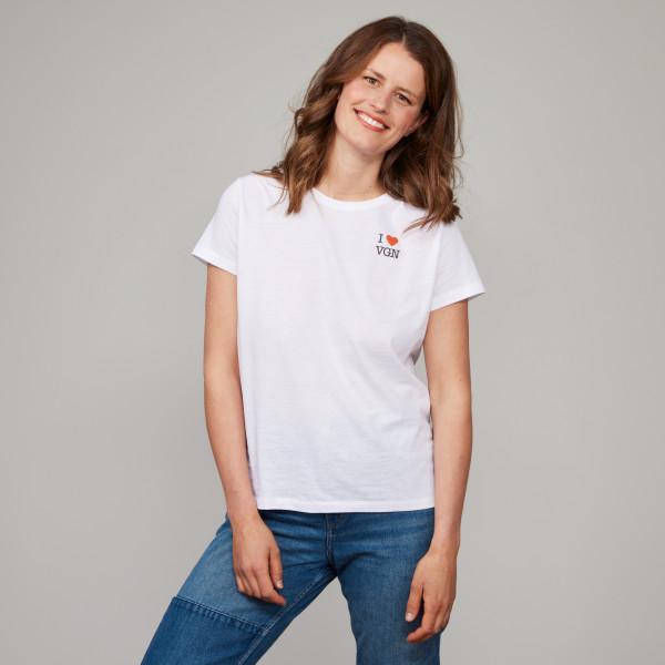"""Damen Basic T-Shirt """"I love VGN"""" weiß"""