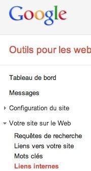 Liens internes dans Webmaster Tools