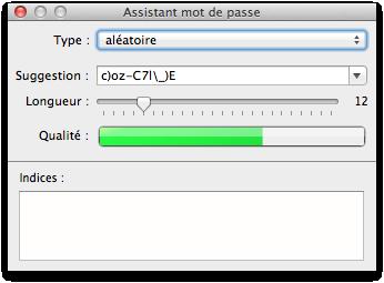 Assistant mot de passe Mac