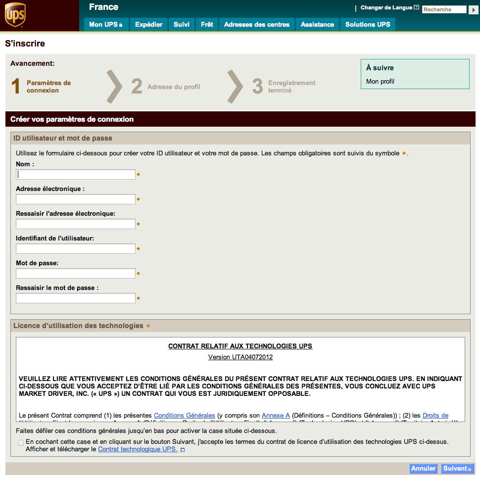 Le formulaire d'inscription chez UPS