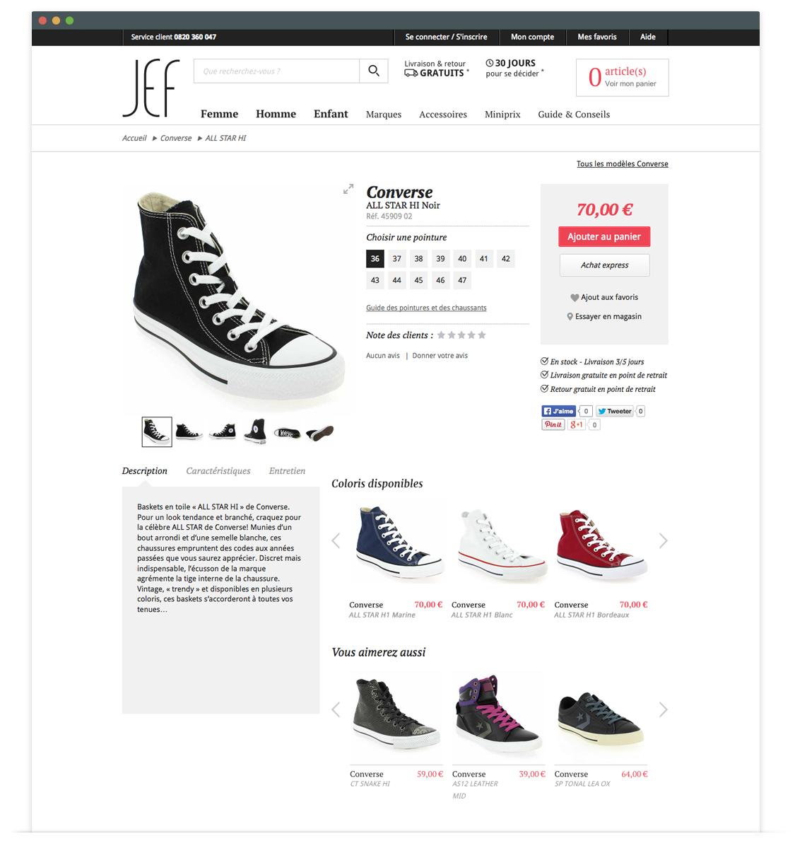 JEF Chaussures - ancienne page produit