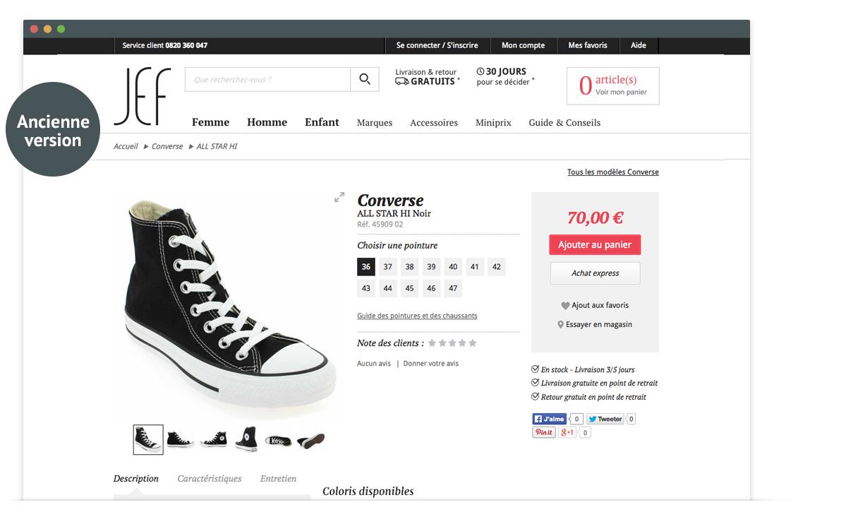 JEF Chaussures - page produit - ancienne version