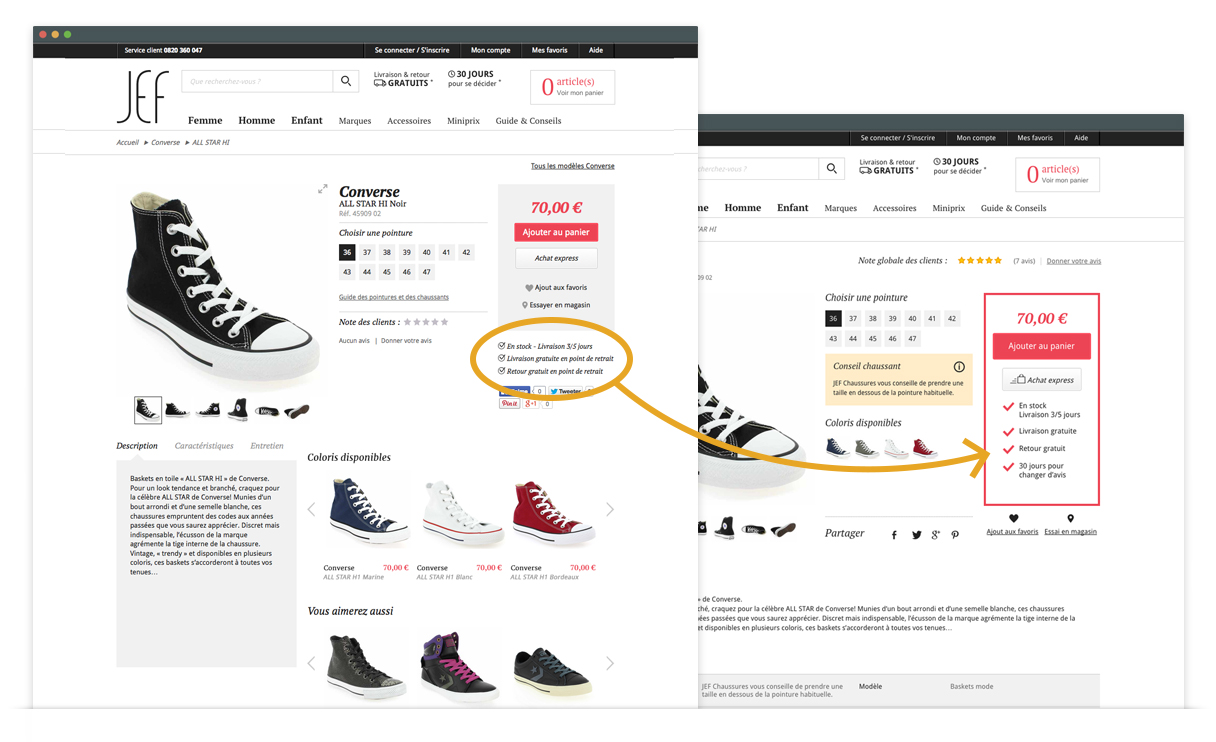 JEF Chaussures - optimisations UX - rassurance