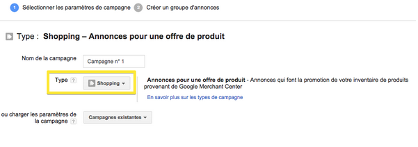 Créer une campagne AdWords Shopping