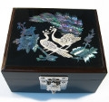 Wooden box with mother of pearl inlaid to store jewellery, trinket, business cards, stationery