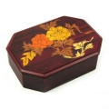 wooden jewellery box made with mother of pearl, handmade gift