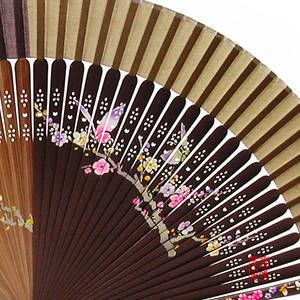 Hand held foldable fan in brown/dark brown, made with bamboo and silk