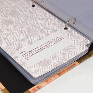 Designer business card album, handmade gift, violet flowers