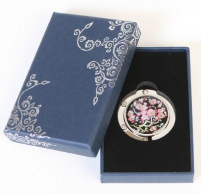 Handbag holder, purse hook, handmade mother of pearl gift, Cherry blossom