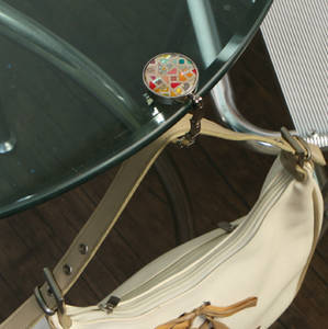 Handbag holder, purse hook, handmade mother of pearl gift, fabric patch