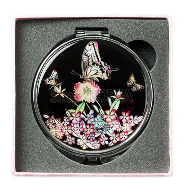Compact mirror, handmade mother of pearl gift, black butterfly