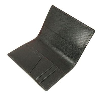 Leather passport cover wallet, handmade designer gift, dark gold silk
