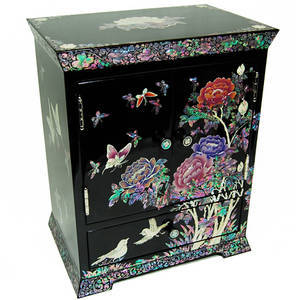 Wooden jewellery box, handmade mother of pearl gift, wild flowers2