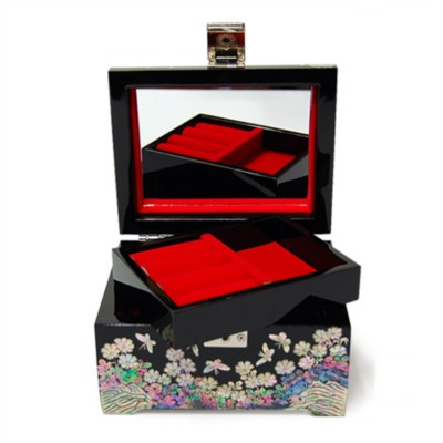 Mother of pearl wooden jewellery box, Crane & flower