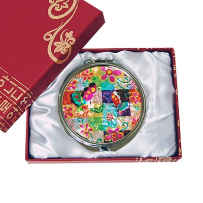 Compact mirror, mother of pearl gift. Colourful butterfly flower