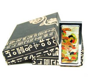 Money clip, designer stainless steel paper holder, green dragon