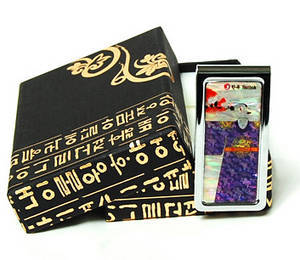 Money clip, stainless steel, mother of pearl gift, traditional King's gown