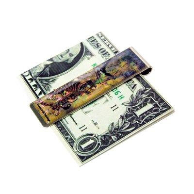 Money clip bookmark paper clip, mother of pearl gift. Tiger & Magpie