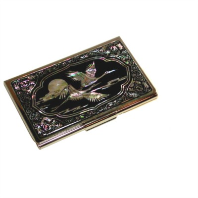 Gift set of business card holder & Key ring. Flying cranes.