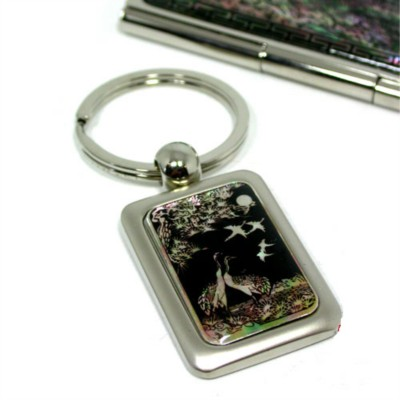 Gift set of business card holder, Key ring, handmade mother of pearl gift, Crane