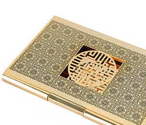 Gold plated business card holder, handmade designer gift