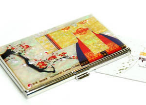 Designer business card holder, credit cardholder, oriental gown clearance sale